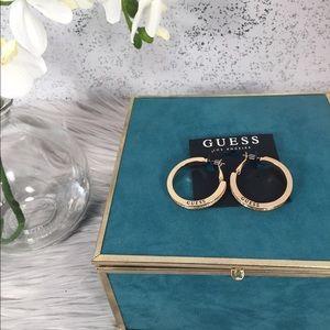 🆕 Guess Gold & Crystal Hoop Earrings